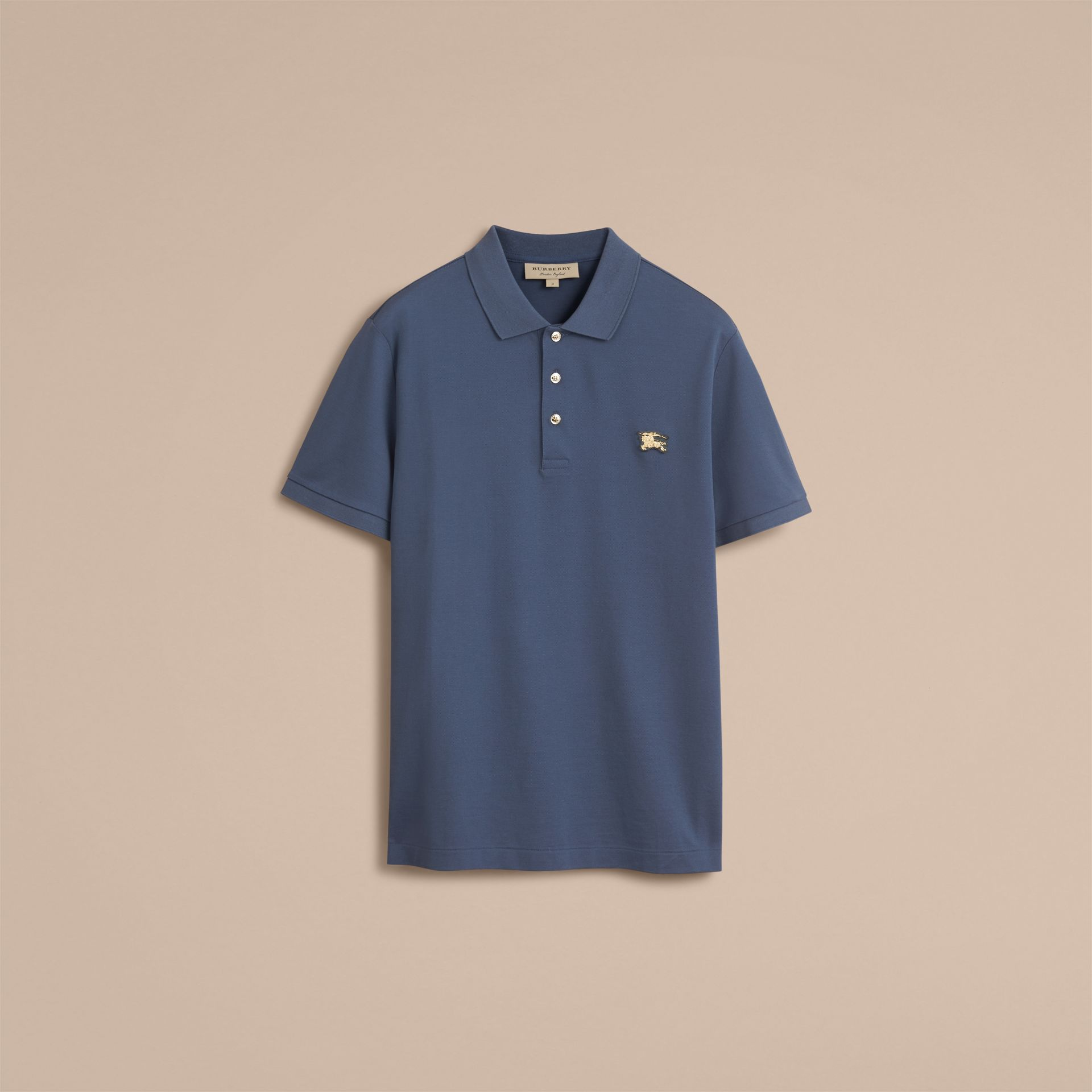 Cotton Piqué Polo Shirt Steel Blue - gallery image 4