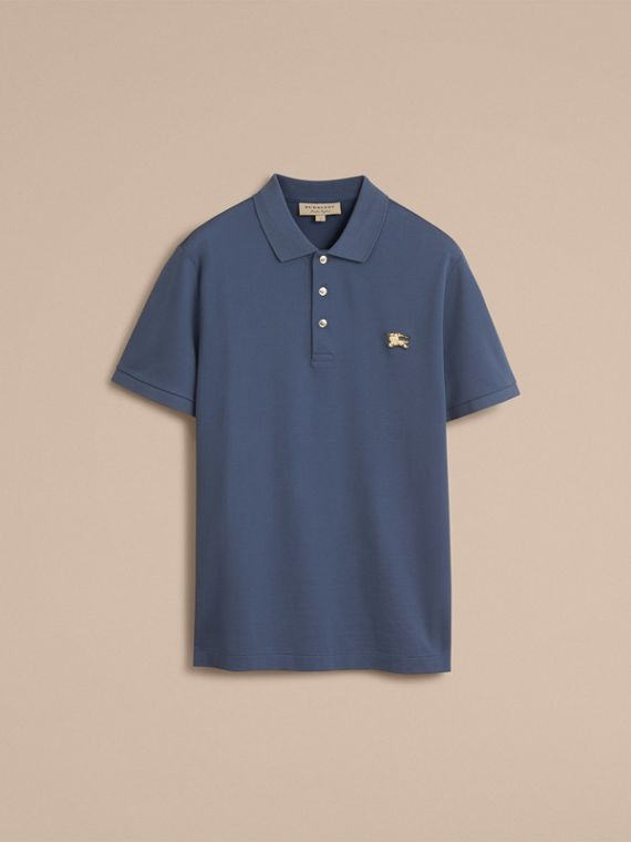 Cotton Piqué Polo Shirt in Steel Blue - cell image 3