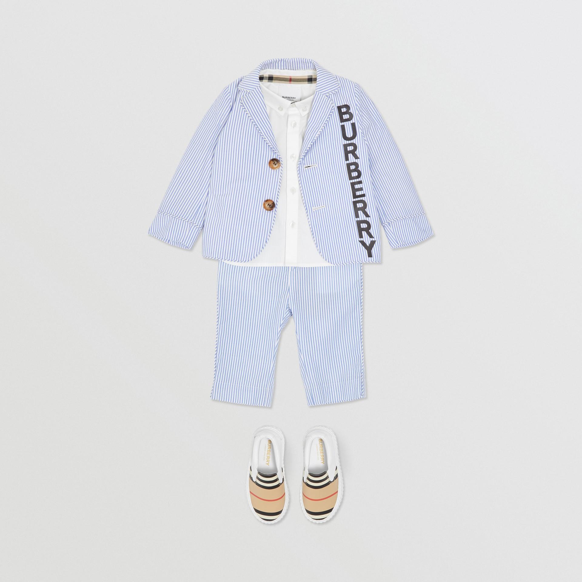 Logo Print Striped Cotton Seersucker Blazer in Cornflower Blue - Children   Burberry Australia - gallery image 2