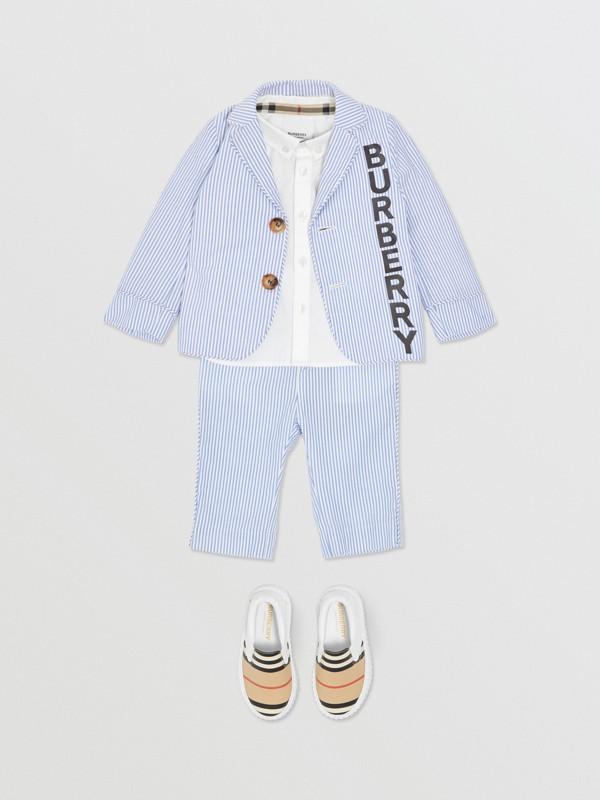 Logo Print Striped Cotton Seersucker Blazer in Cornflower Blue - Children   Burberry Australia - cell image 2