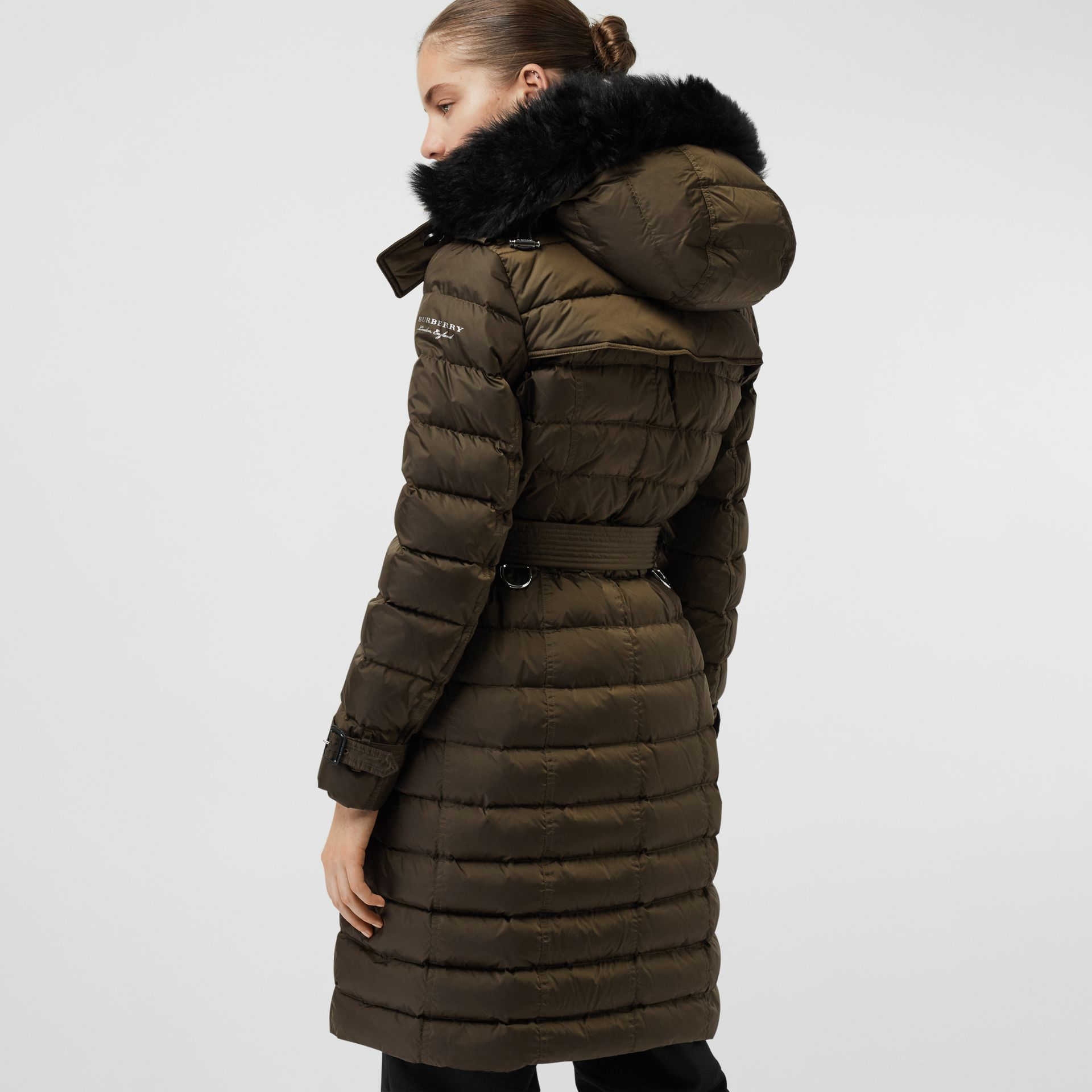 Detachable Hood Down-filled Puffer Coat in Dark Olive - Women | Burberry - gallery image 2