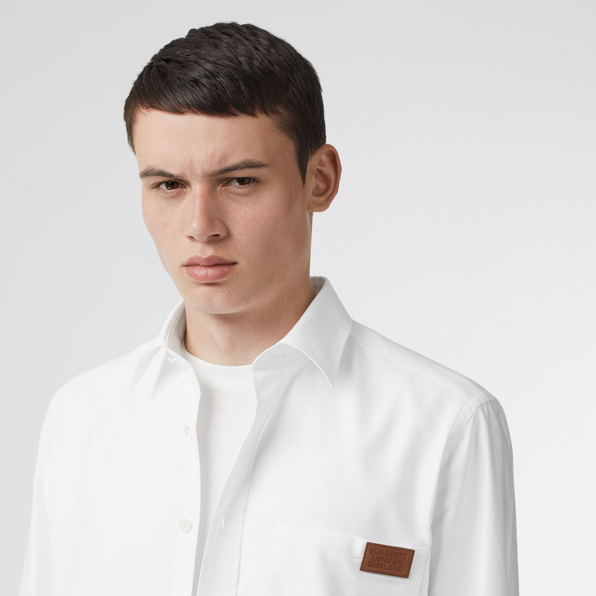 Logo Detail Cotton Oxford Shirt in White - Men | Burberry - gallery image 1