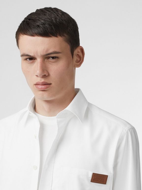 Logo Detail Cotton Oxford Shirt in White - Men | Burberry - cell image 1
