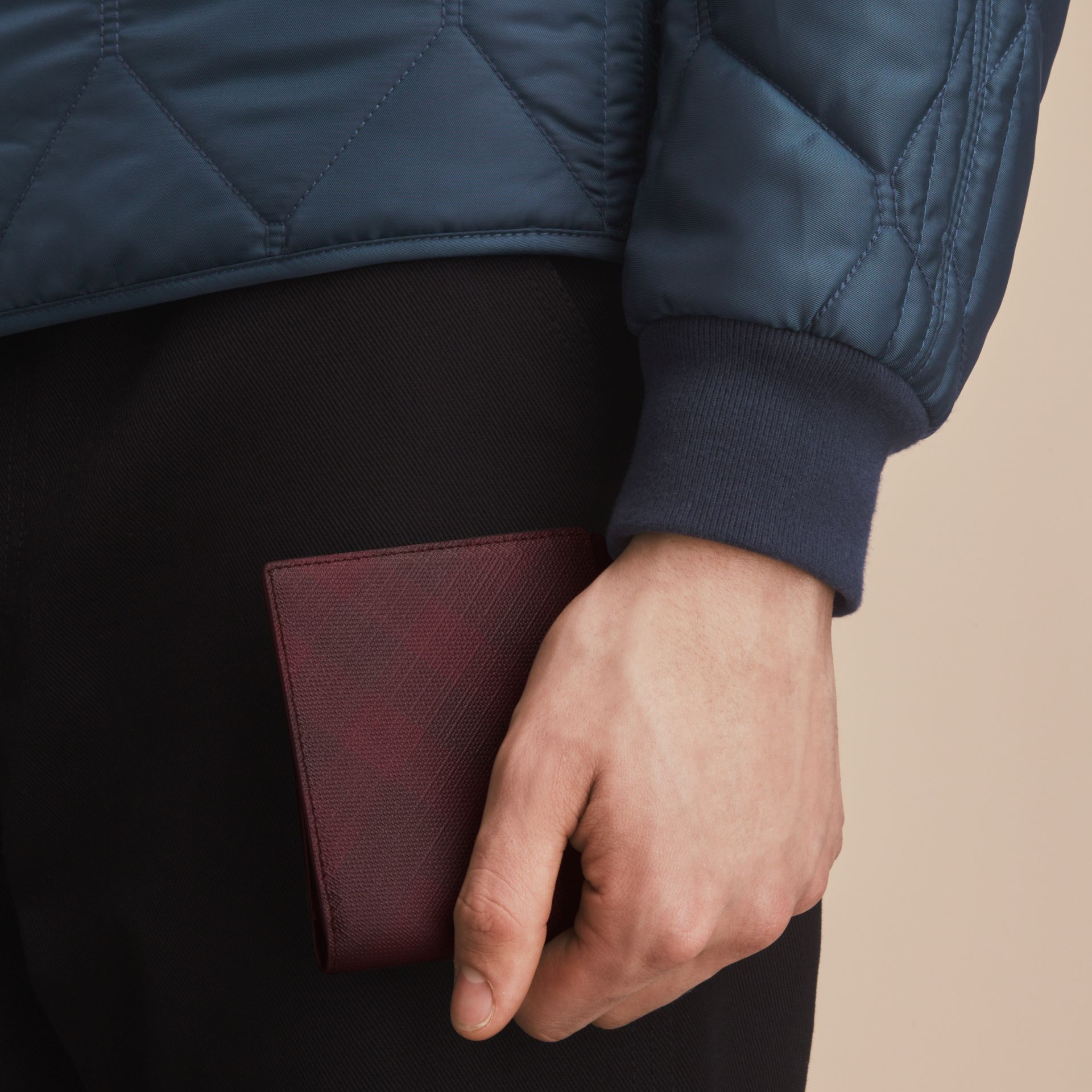 London Check Folding Wallet in Deep Claret - Men | Burberry Canada - gallery image 3