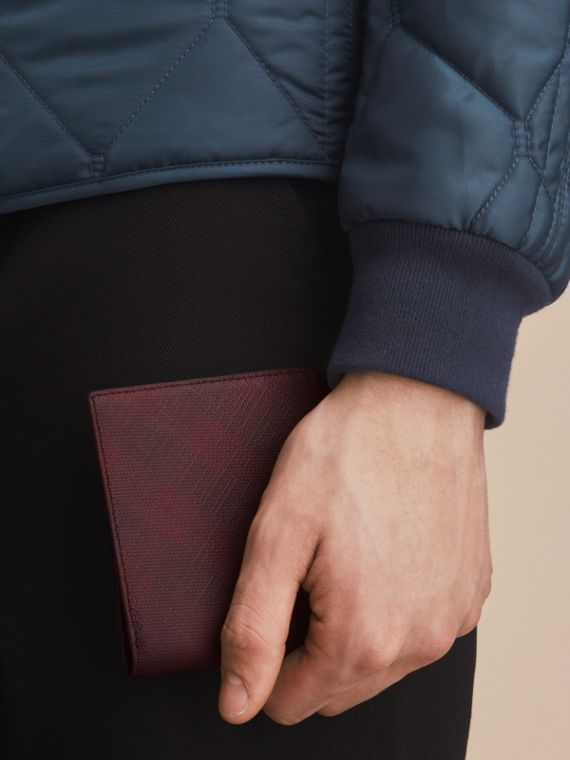 London Check Folding Wallet in Deep Claret - Men | Burberry - cell image 2