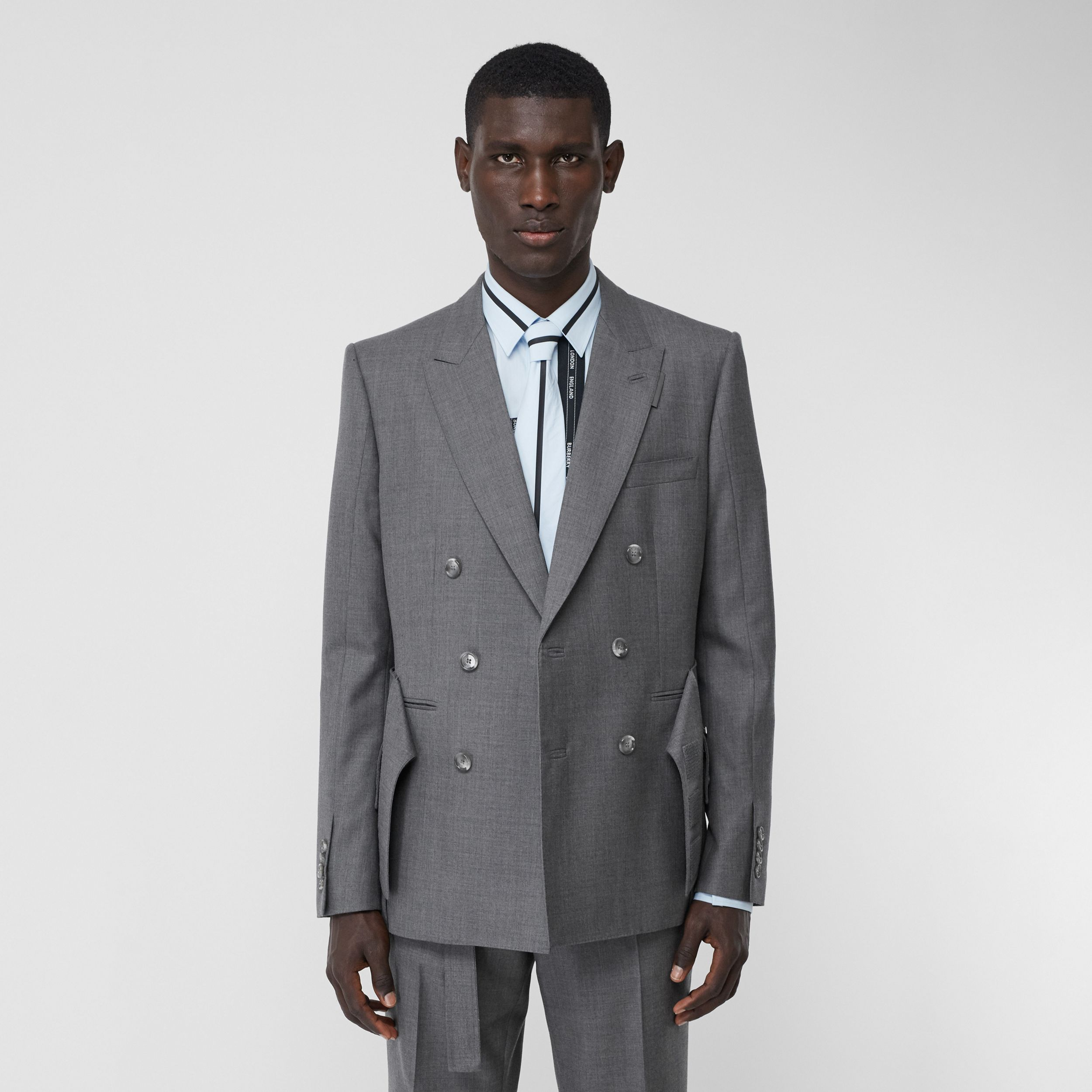 English Fit Cargo Belt Detail Wool Tailored Jacket in Charcoal Grey - Men | Burberry Singapore - 1