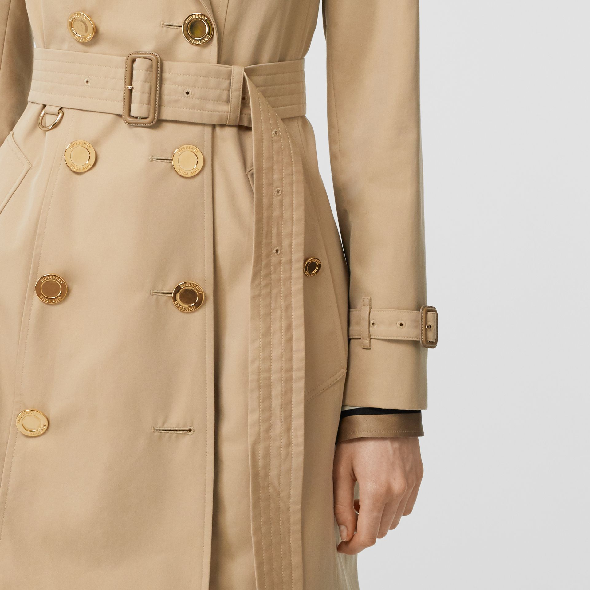 Button Detail Cotton Gabardine Trench Coat in Honey - Women | Burberry - gallery image 4