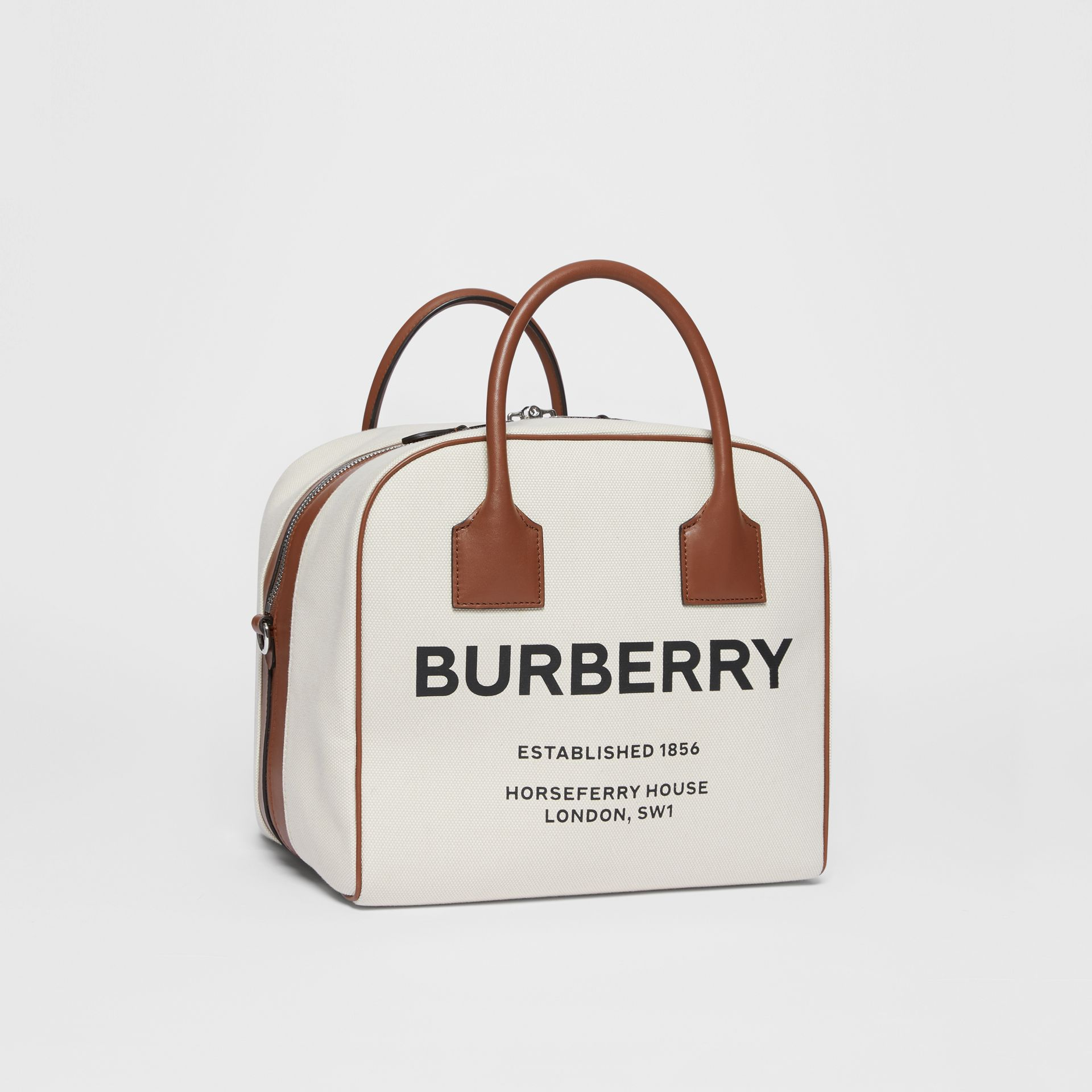 Borsa Cube media in tela con stampa Horseferry (Naturale/marrone Malto) - Donna | Burberry - immagine della galleria 5