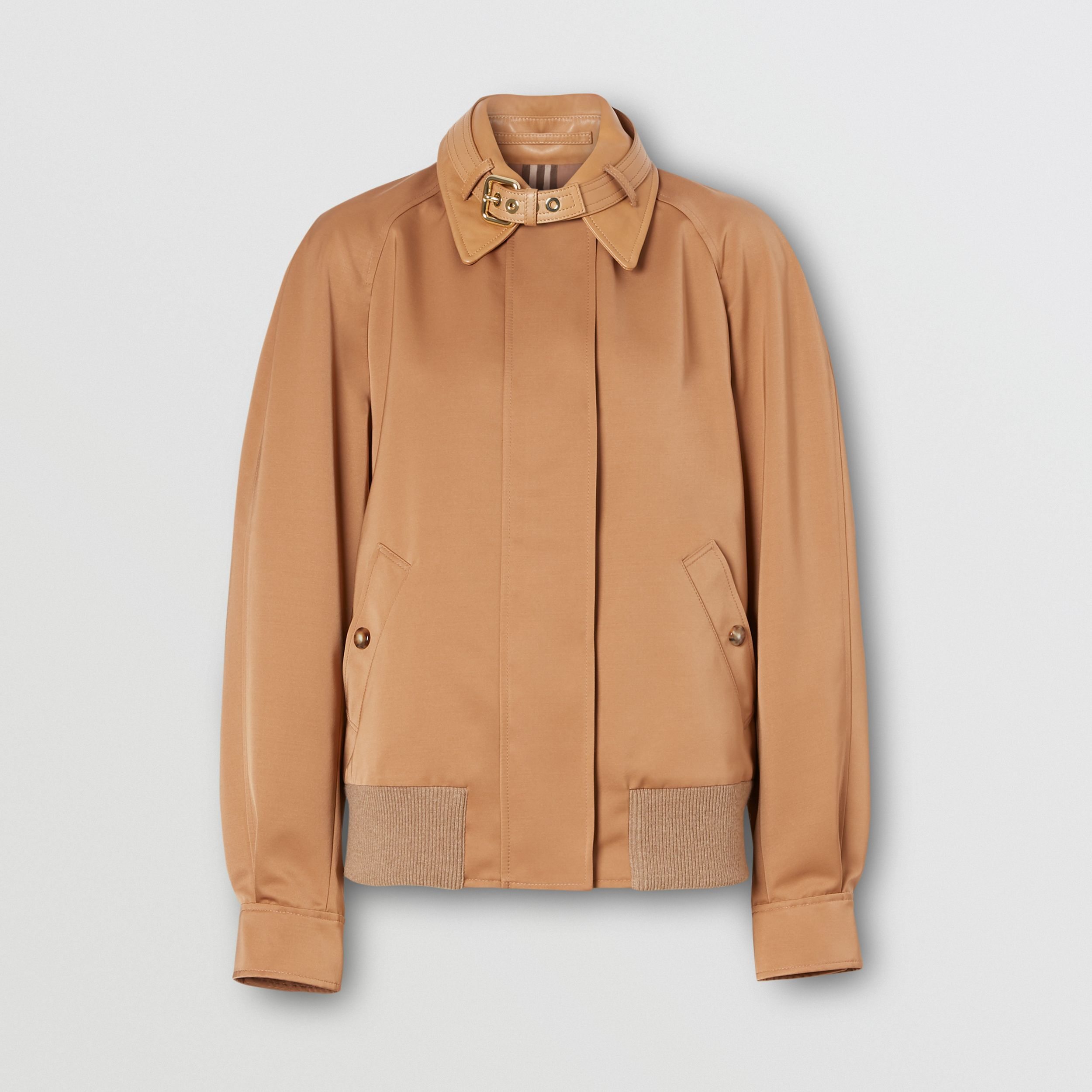 Lambskin Trim Technical Wool Silk Harrington Jacket in Camel - Women | Burberry - 4