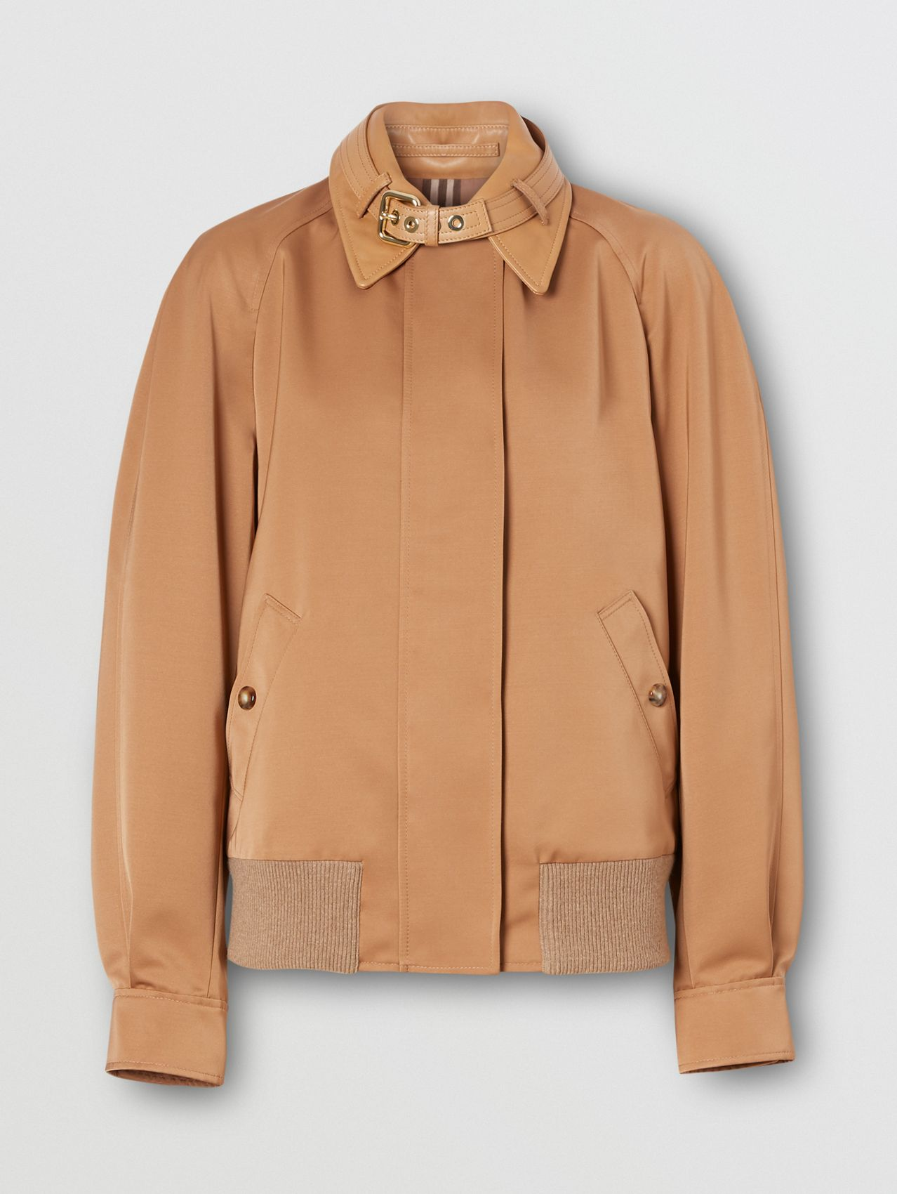 Lambskin Trim Technical Wool Silk Harrington Jacket in Camel