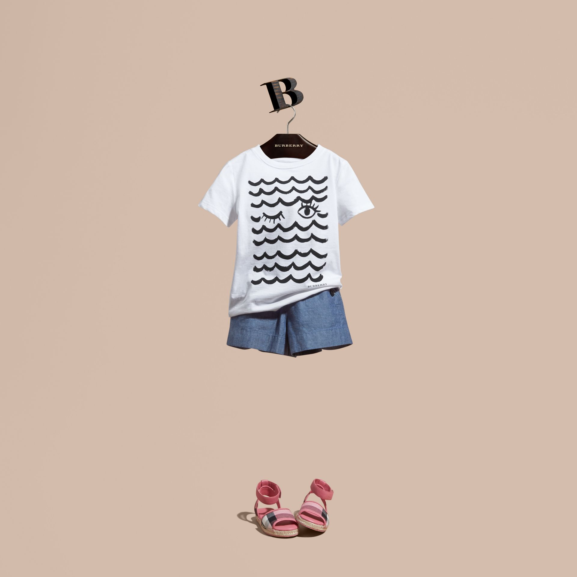 Waves and Eye Graphic Print Cotton T-shirt - Girl | Burberry - gallery image 1