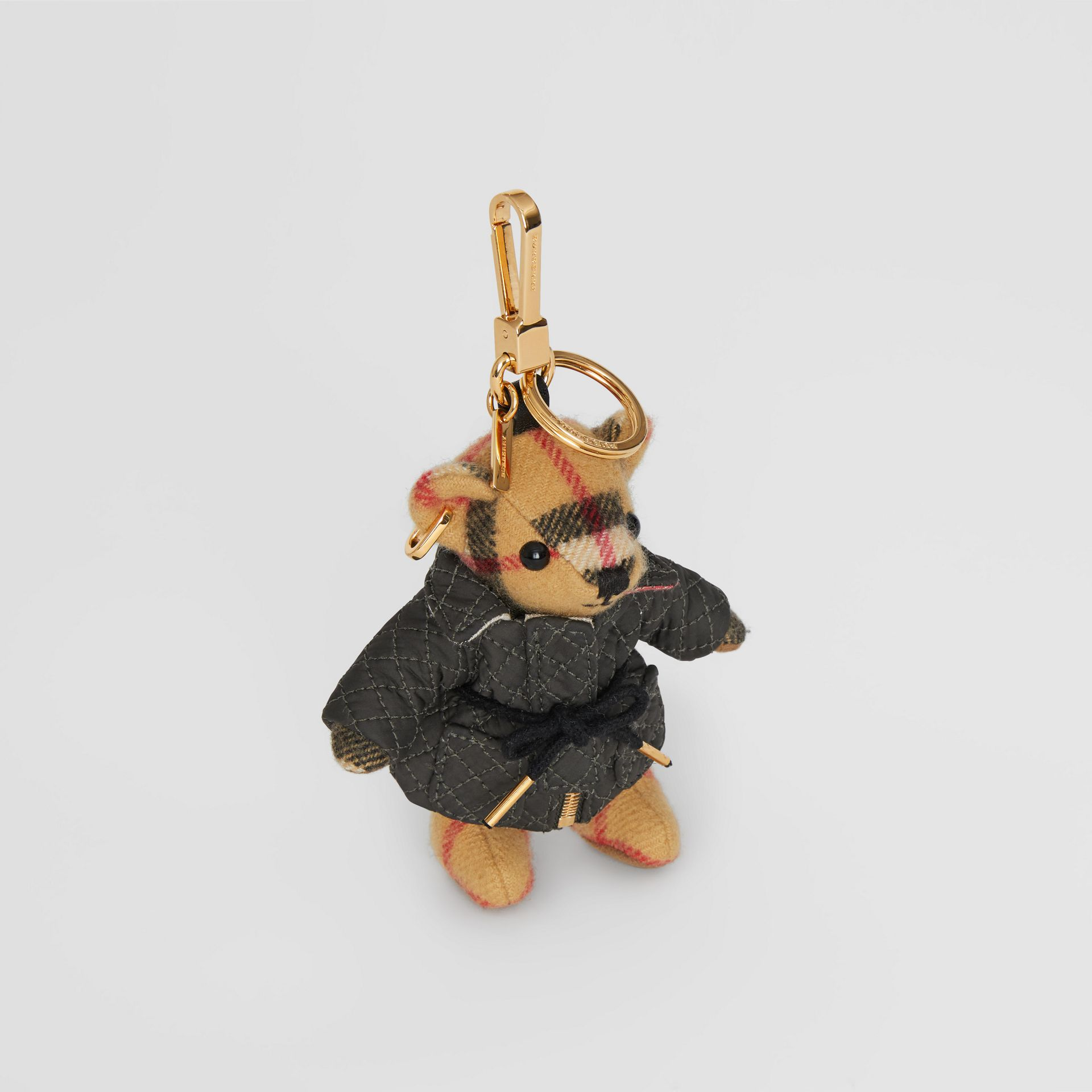 Bijou porte-clés Thomas Bear avec veste matelassée (Jaune Antique) | Burberry - photo de la galerie 0