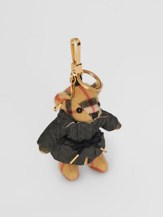 Thomas Bear Charm in Quilted Jacket in Antique Yellow
