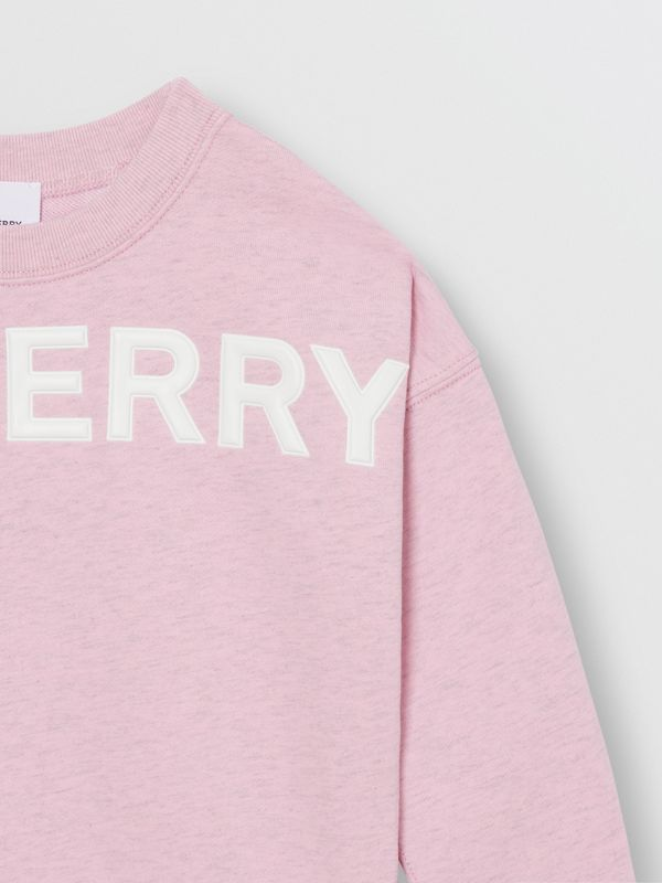 Logo Detail Cotton Sweatshirt in Pale Neon Pink - Girl | Burberry - cell image 3
