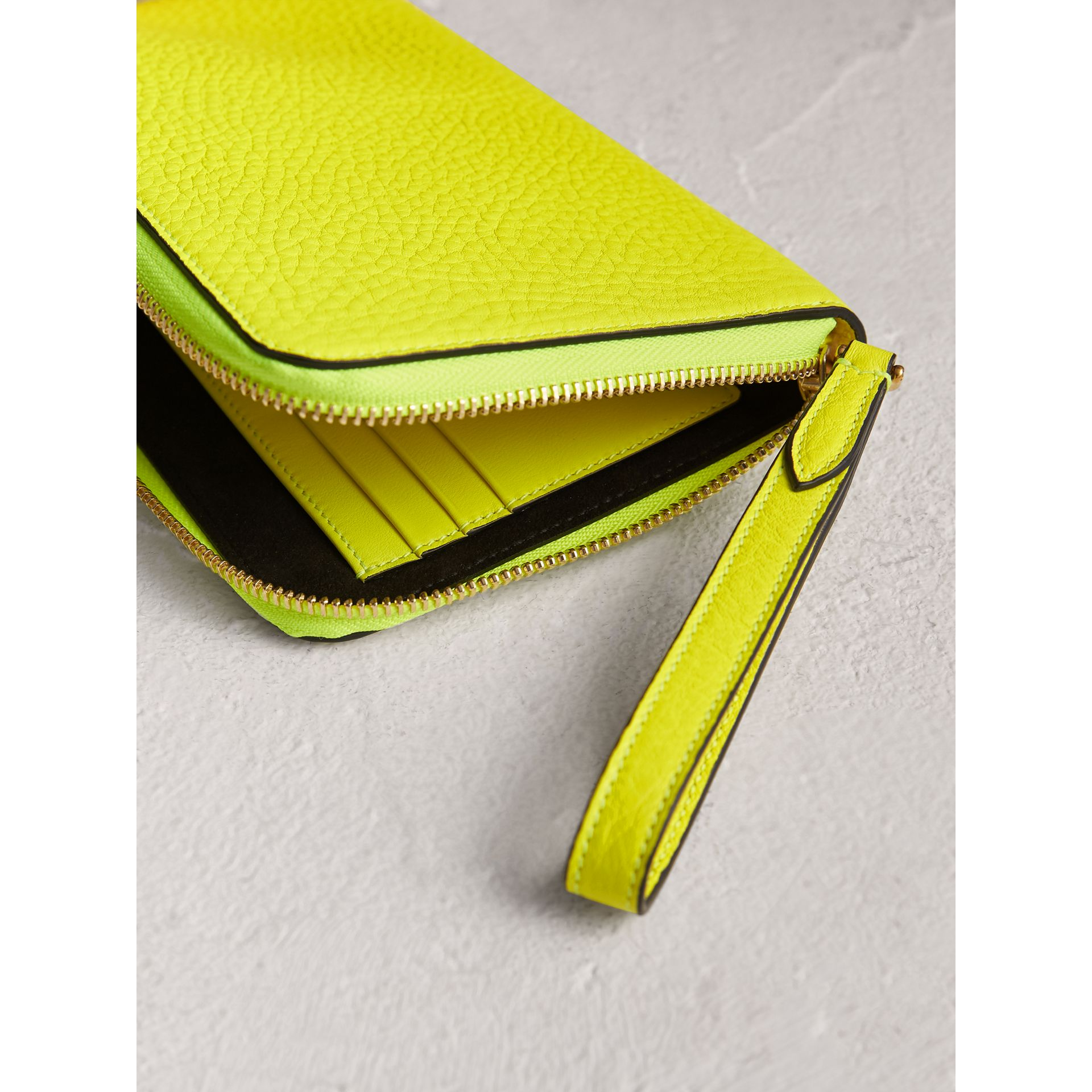 Embossed Neon Leather Travel Wallet in Bright Yellow | Burberry - gallery image 3
