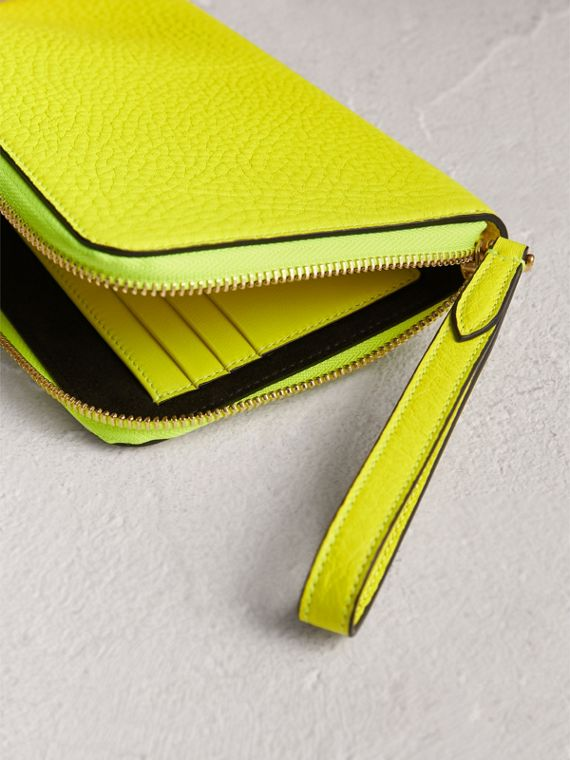 Embossed Neon Leather Travel Wallet in Bright Yellow | Burberry United Kingdom - cell image 3