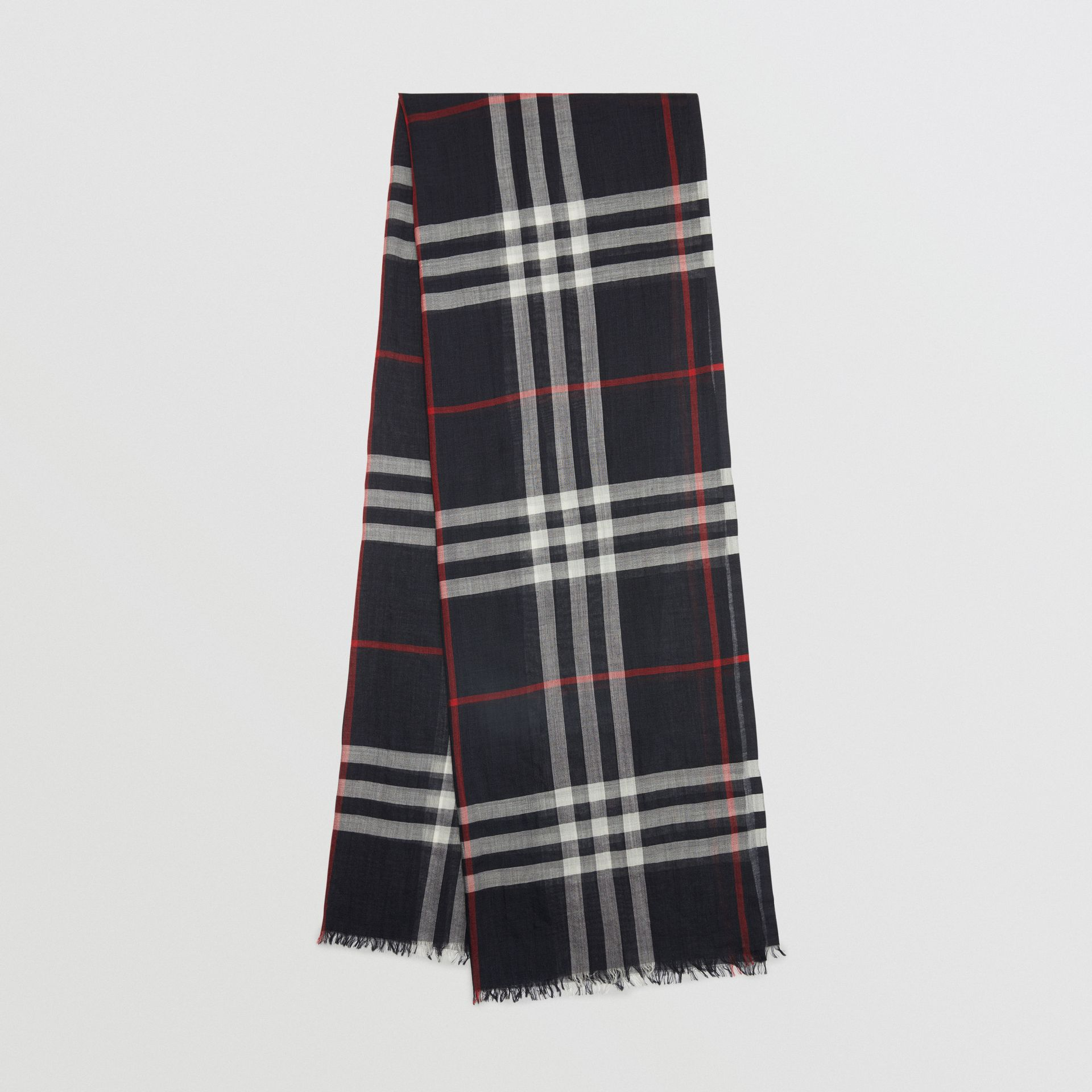 Lightweight Check Wool and Silk Scarf in Navy | Burberry Australia - gallery image 0