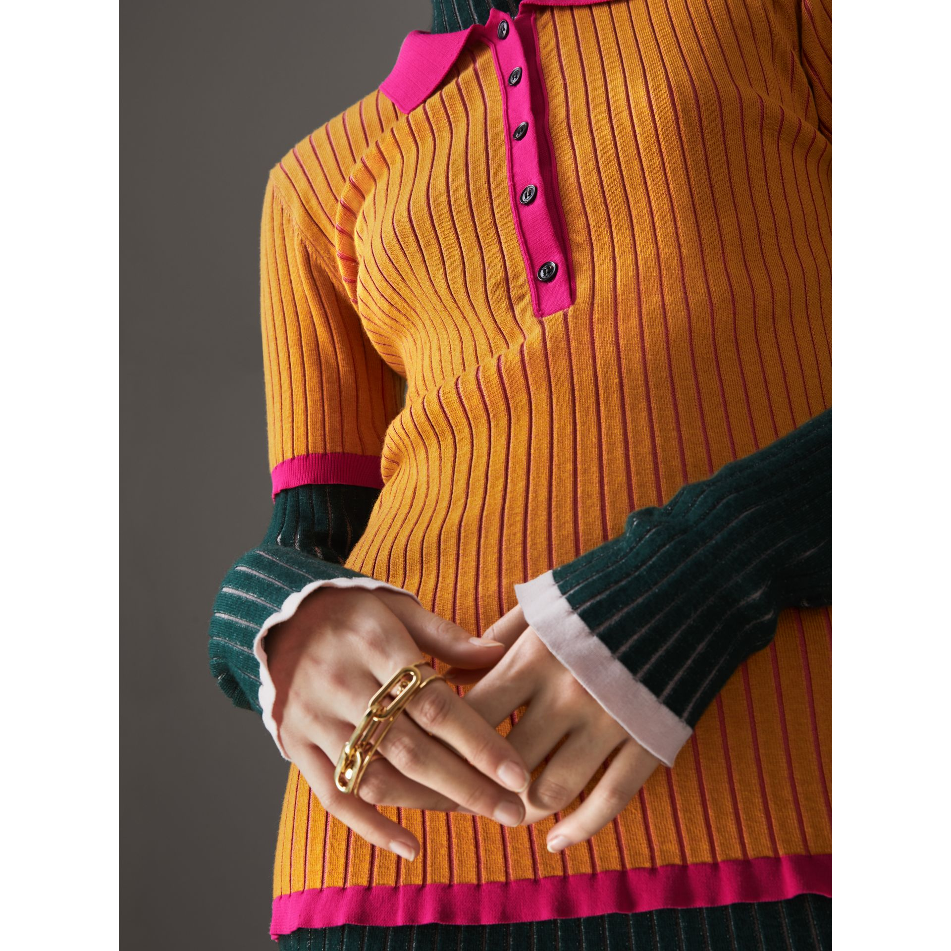 Two-tone Cashmere Silk Polo Shirt in Ochre Yellow - Women | Burberry - gallery image 1