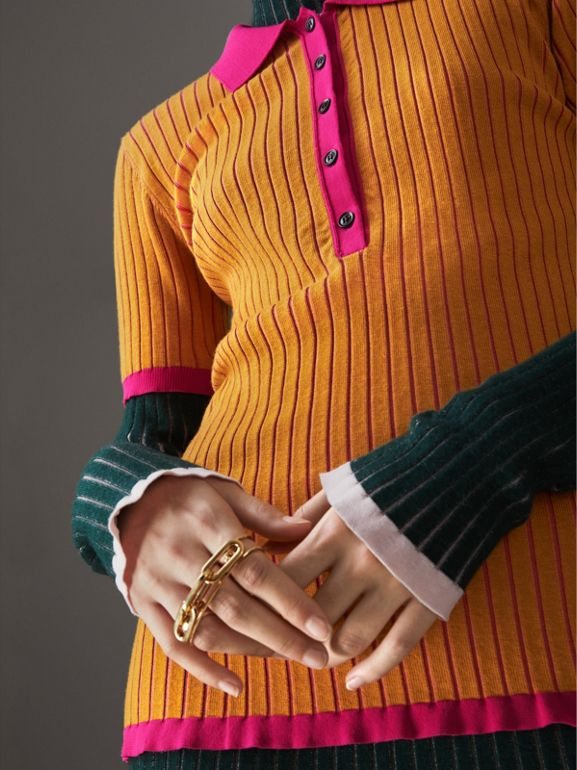 Polo bicolore in cashmere e seta (Giallo Ocra) - Donna | Burberry - cell image 1