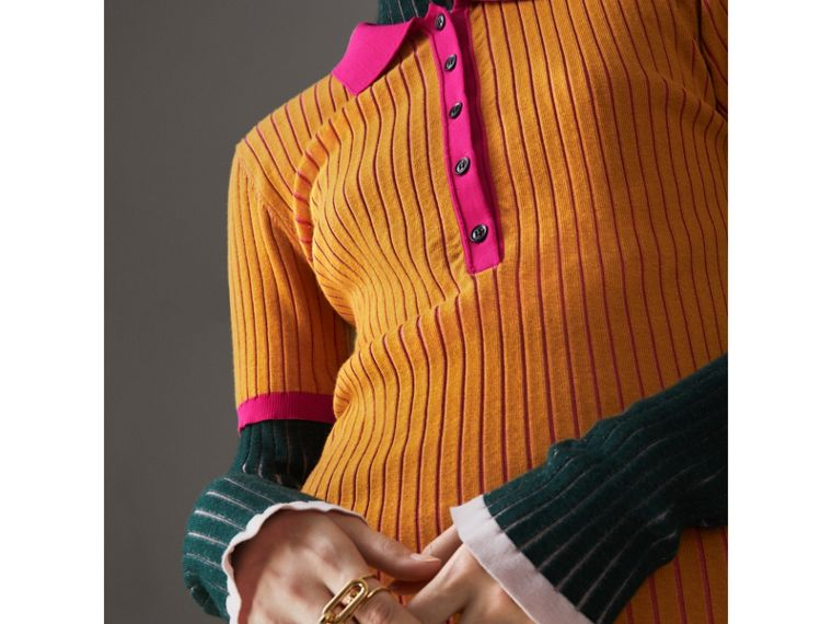 Two-tone Cashmere Silk Polo Shirt in Ochre Yellow - Women | Burberry - cell image 1