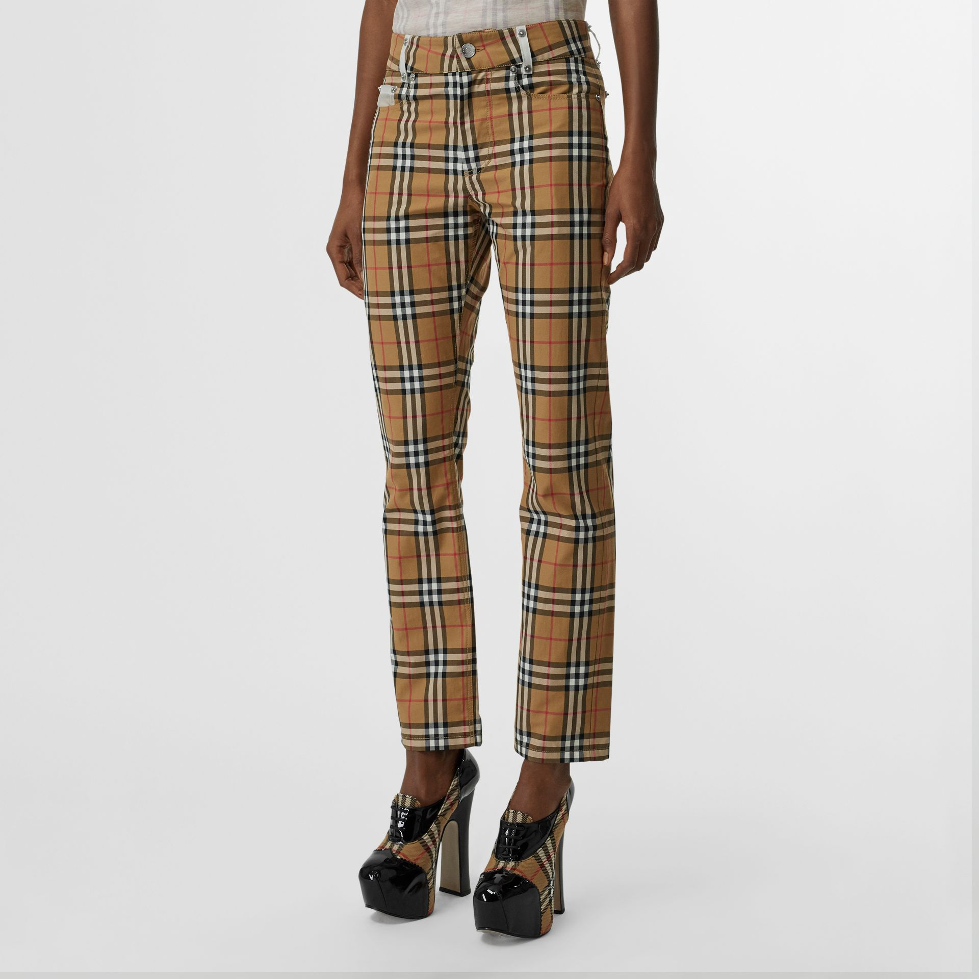 Zip Detail Vintage Check Cotton Trousers in Antique Yellow | Burberry - gallery image 5