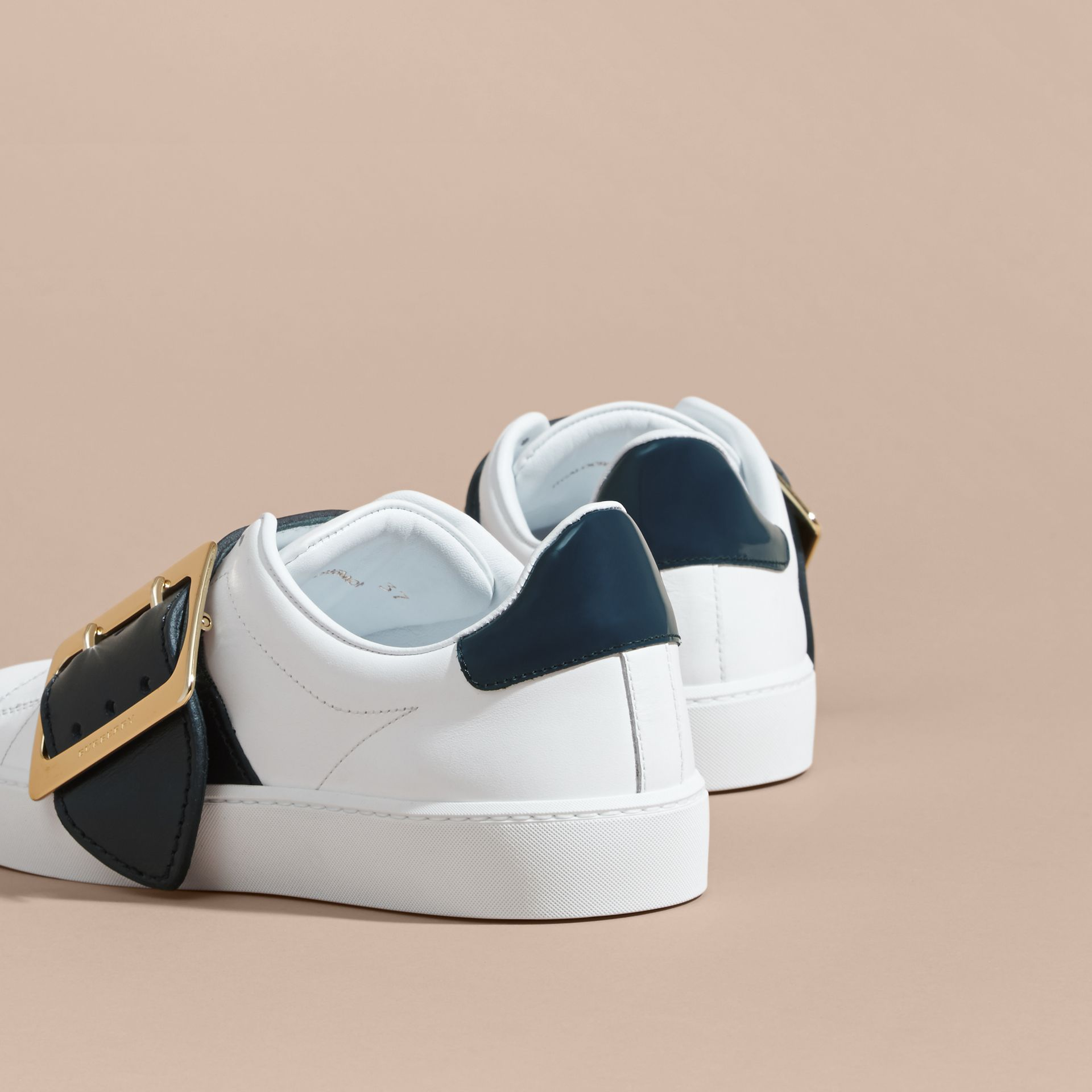 Buckle Detail Leather Trainers in Optic White/navy - gallery image 4