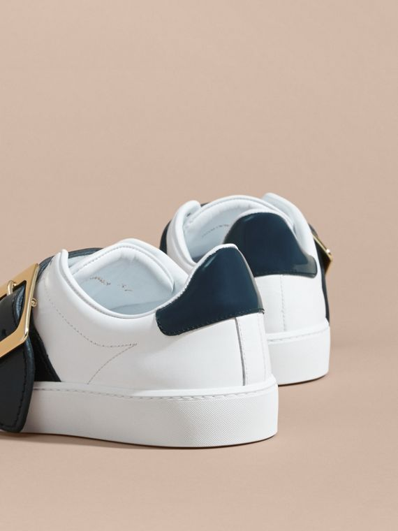 Buckle Detail Leather Trainers in Optic White/navy - cell image 3