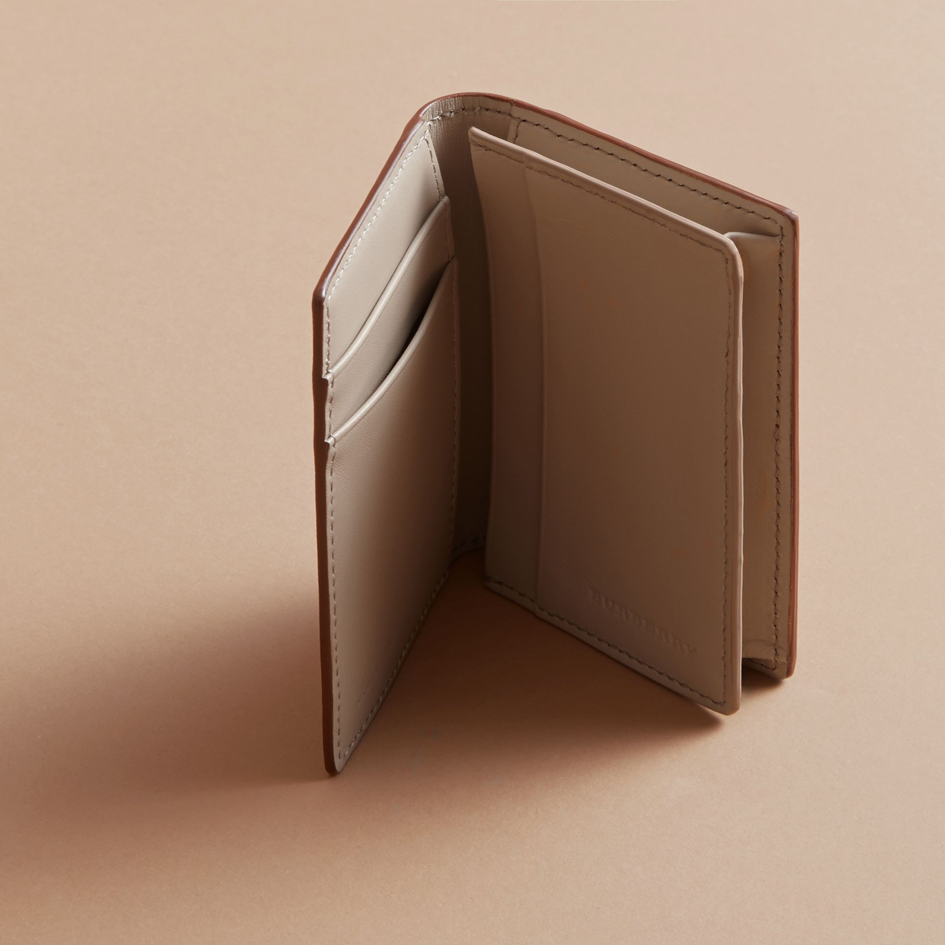 London Leather Folding Card Case in Tan - Men | Burberry - gallery image 4