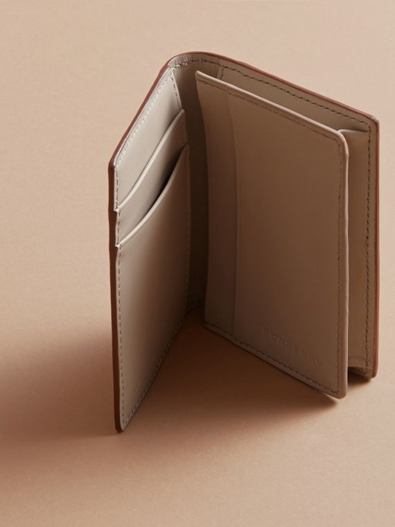 London Leather Folding Card Case in Tan - Men | Burberry - cell image 3