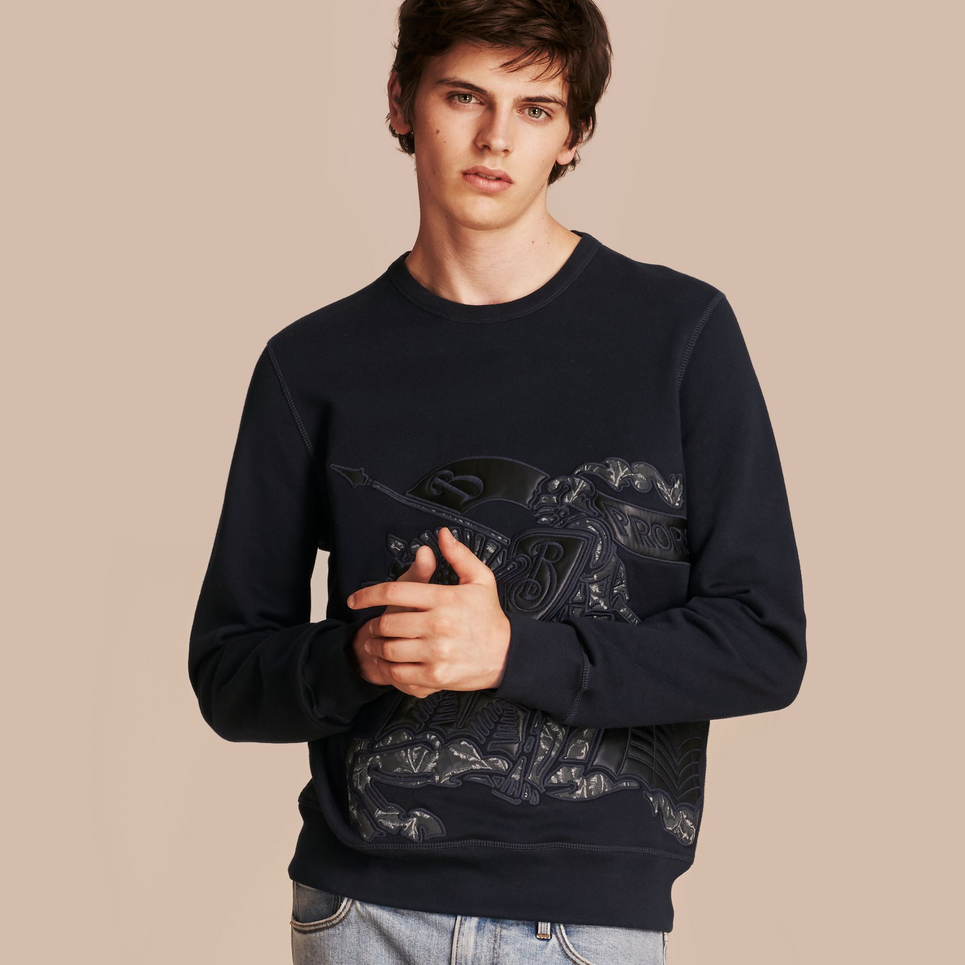 Equestrian Knight Device Cotton Blend Sweatshirt - Men | Burberry - gallery image 1