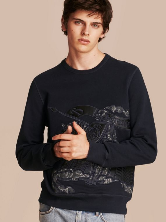 Equestrian Knight Device Cotton Blend Sweatshirt - Men | Burberry Singapore