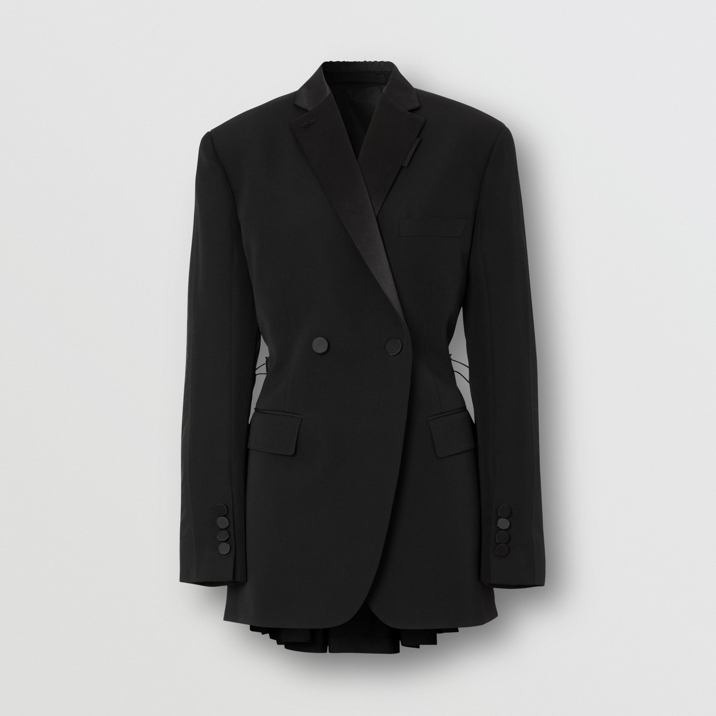 Cut-out Back Wool and Taffeta Tuxedo Jacket in Black - Women | Burberry Hong Kong S.A.R. - 4