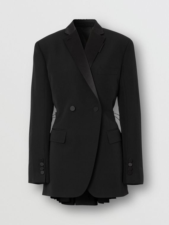 Cut-out Back Wool and Taffeta Tuxedo Jacket in Black