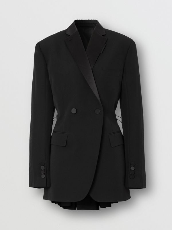 Cut-out Back Wool and Taffeta Tuxedo Jacket in Black - Women | Burberry - cell image 3