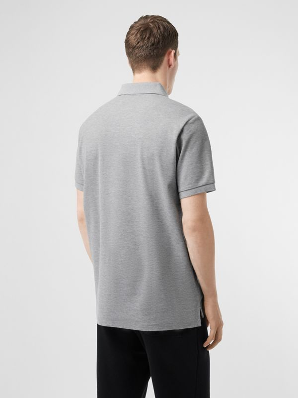 Logo Print Cotton Piqué Polo Shirt in Pale Grey Melange - Men | Burberry - cell image 2