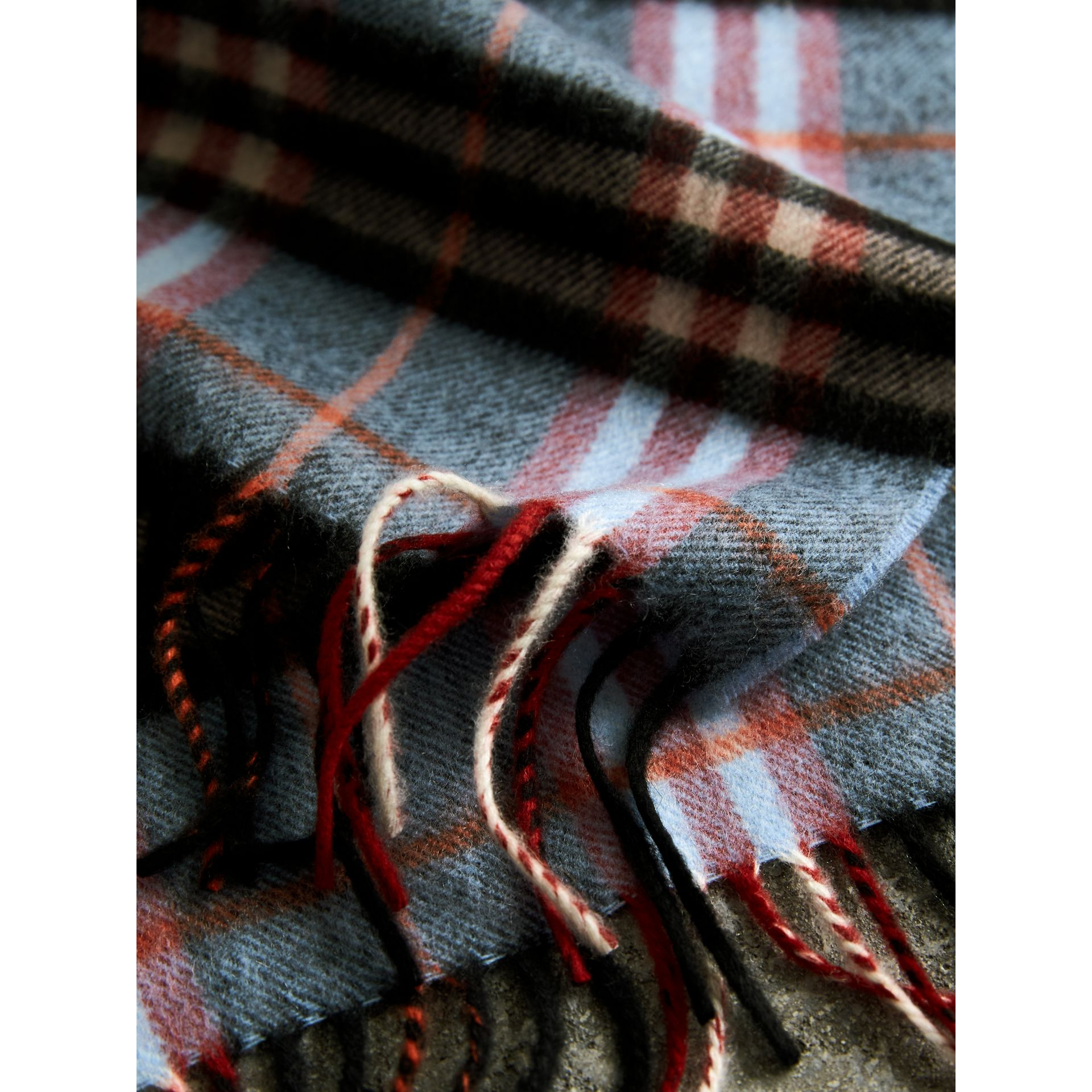 Check Cashmere Scarf in Pale Carbon Blue | Burberry Australia - gallery image 4