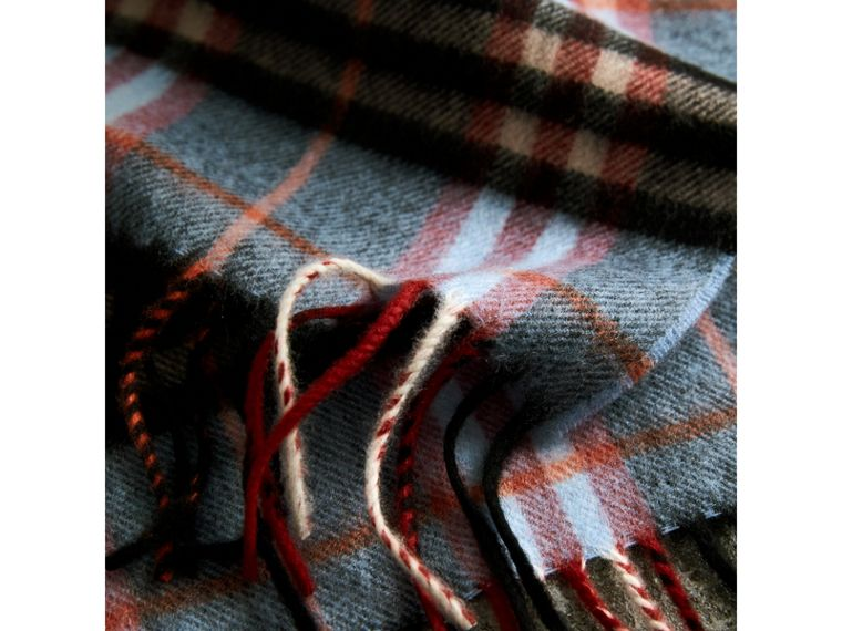 Check Cashmere Scarf in Pale Carbon Blue | Burberry Australia - cell image 4