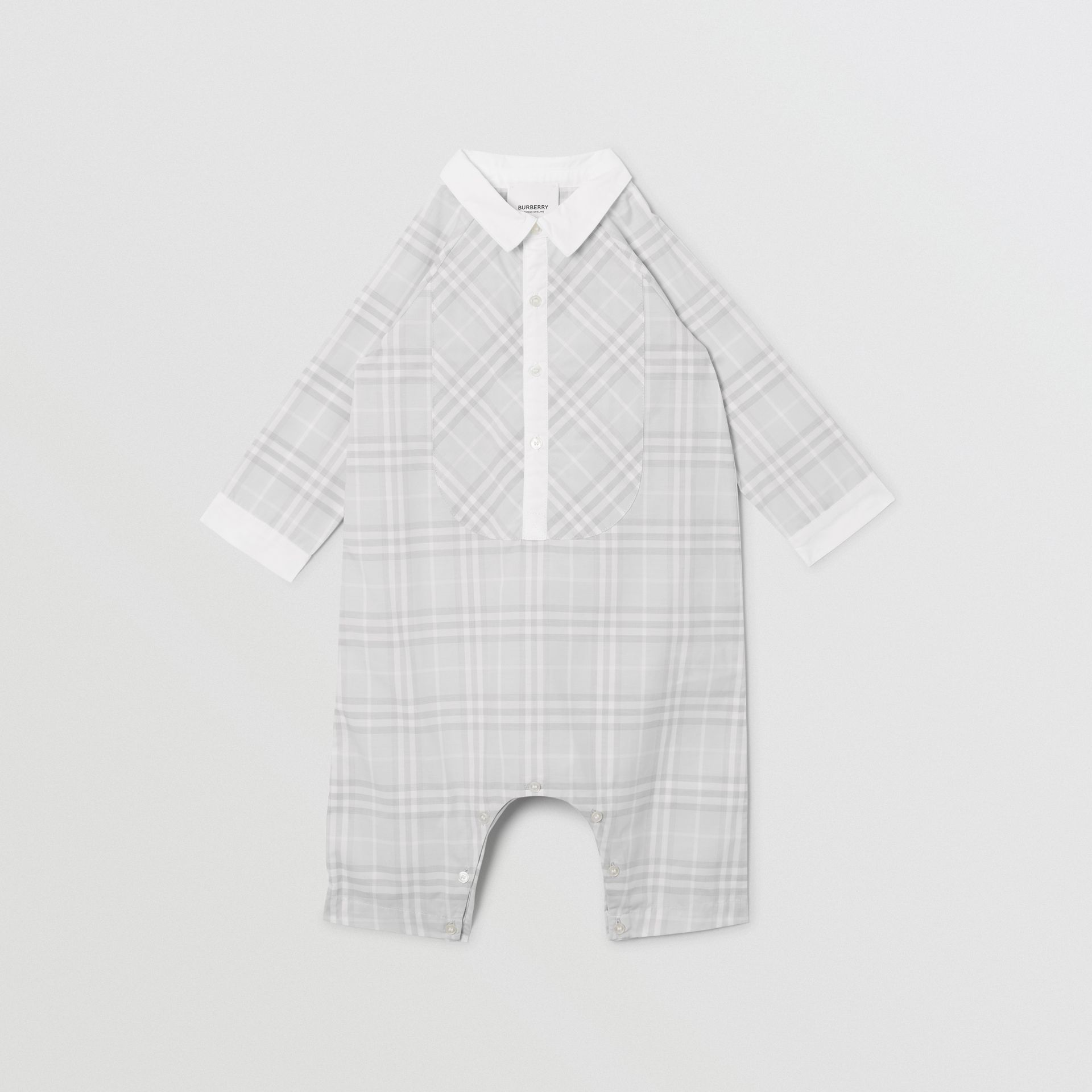 Bib Detail Check Cotton Jumpsuit in Pale Grey - Children | Burberry - gallery image 0