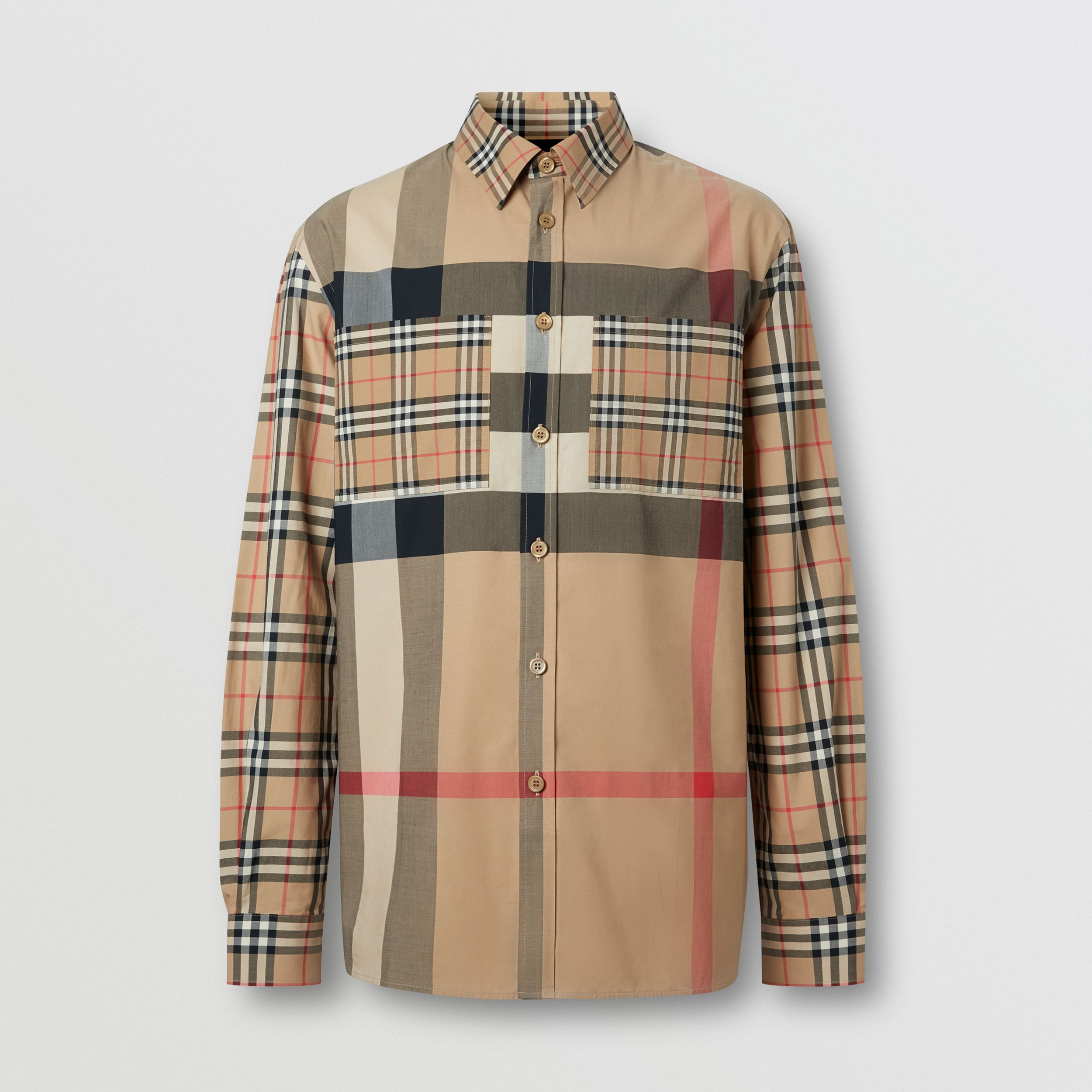 Patchwork Check Stretch Cotton Oversized Shirt in Archive Beige - Men | Burberry - 4