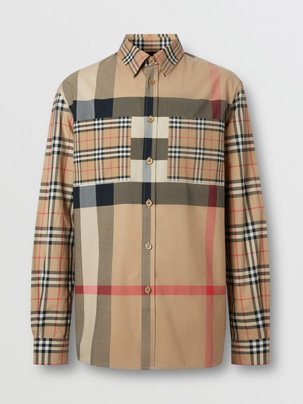 Patchwork Check Stretch Cotton Oversized Shirt in Archive Beige - Men | Burberry United Kingdom - cell image 3