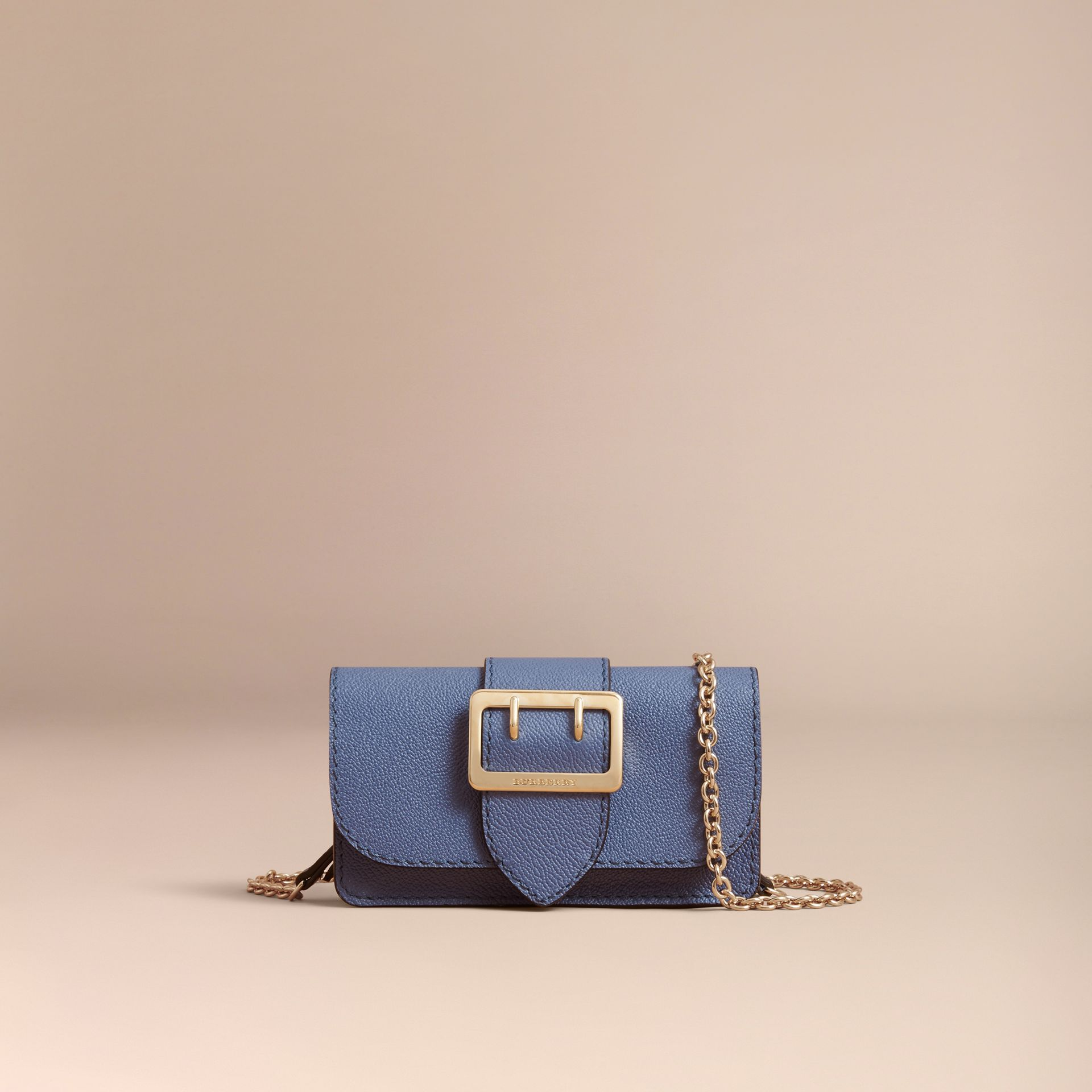 The Mini Buckle Bag in Grainy Leather in Steel Blue - Women | Burberry Hong Kong - gallery image 5