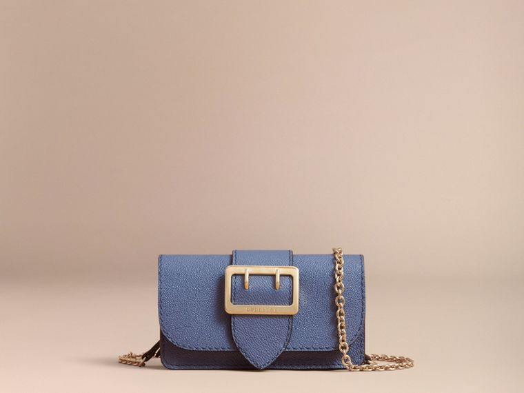 The Mini Buckle Bag in Grainy Leather in Steel Blue - Women | Burberry - cell image 4