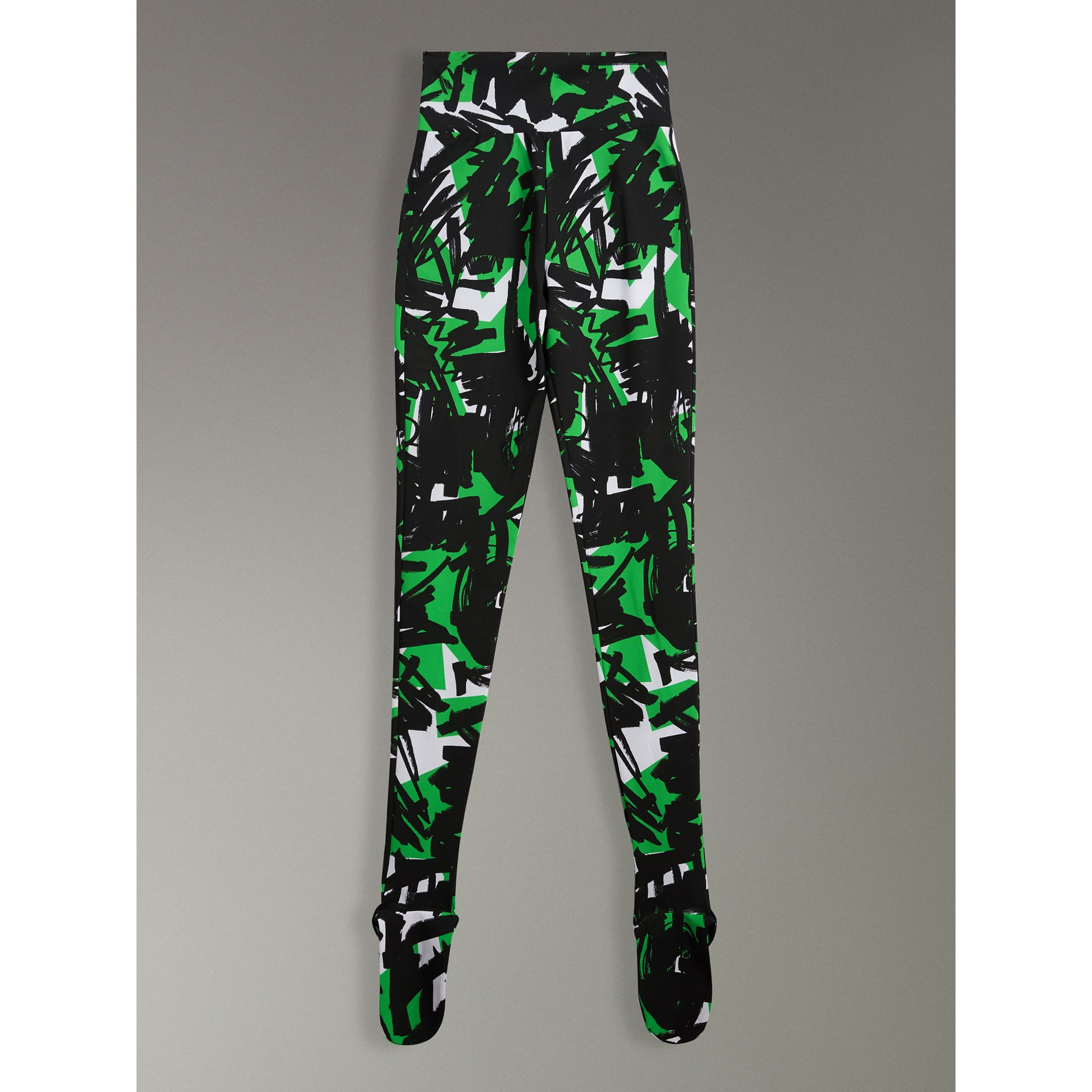Graffiti Print Leggings in Neon Green - Women | Burberry - gallery image 3