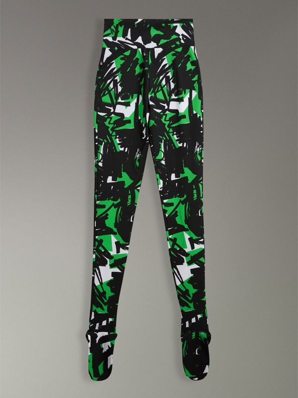 Graffiti Print Leggings in Neon Green - Women | Burberry - cell image 3