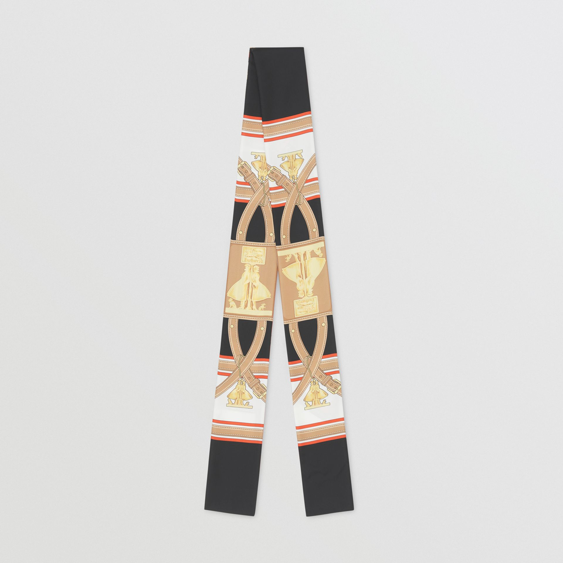 Archive Scarf Print Silk Skinny Scarf in Black | Burberry - gallery image 0