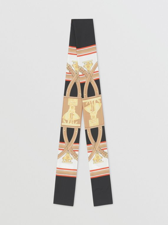Archive Scarf Print Silk Skinny Scarf in Black