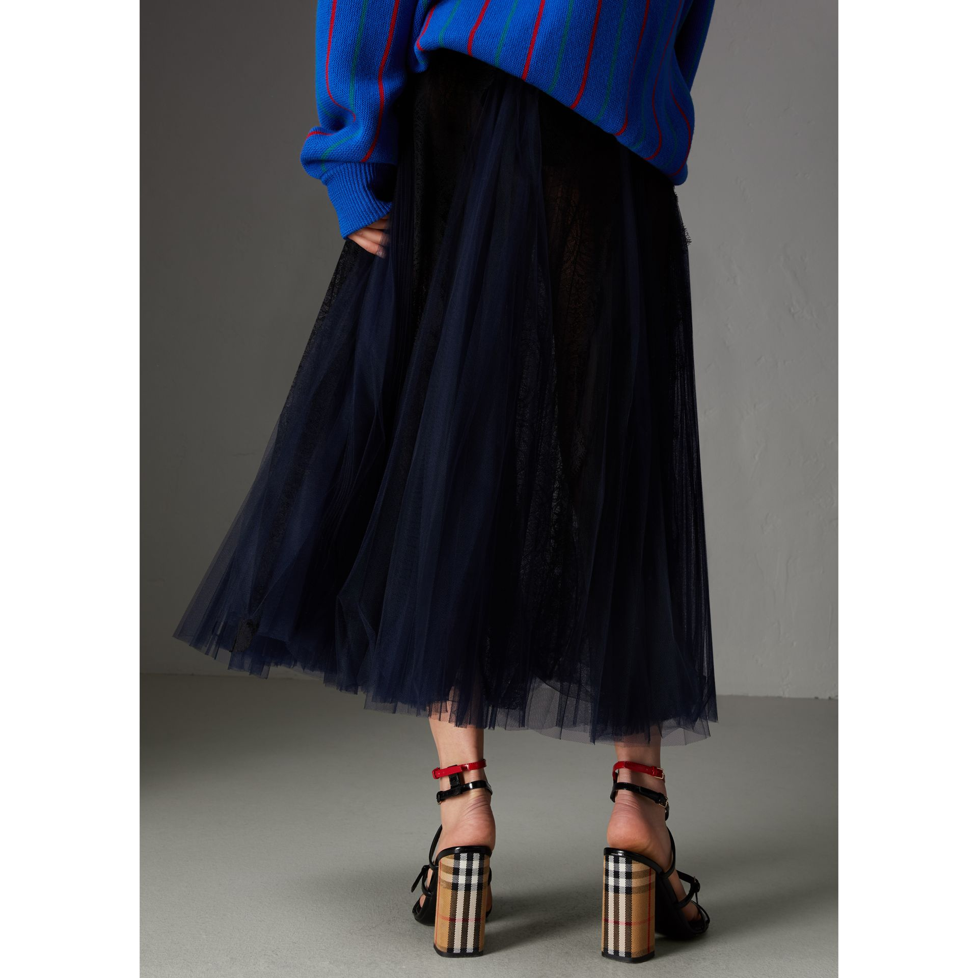 Lace Panel Pleated Tulle Skirt in Navy - Women | Burberry - gallery image 2