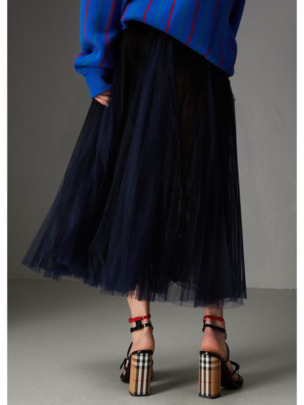 Lace Panel Pleated Tulle Skirt in Navy - Women | Burberry - cell image 2