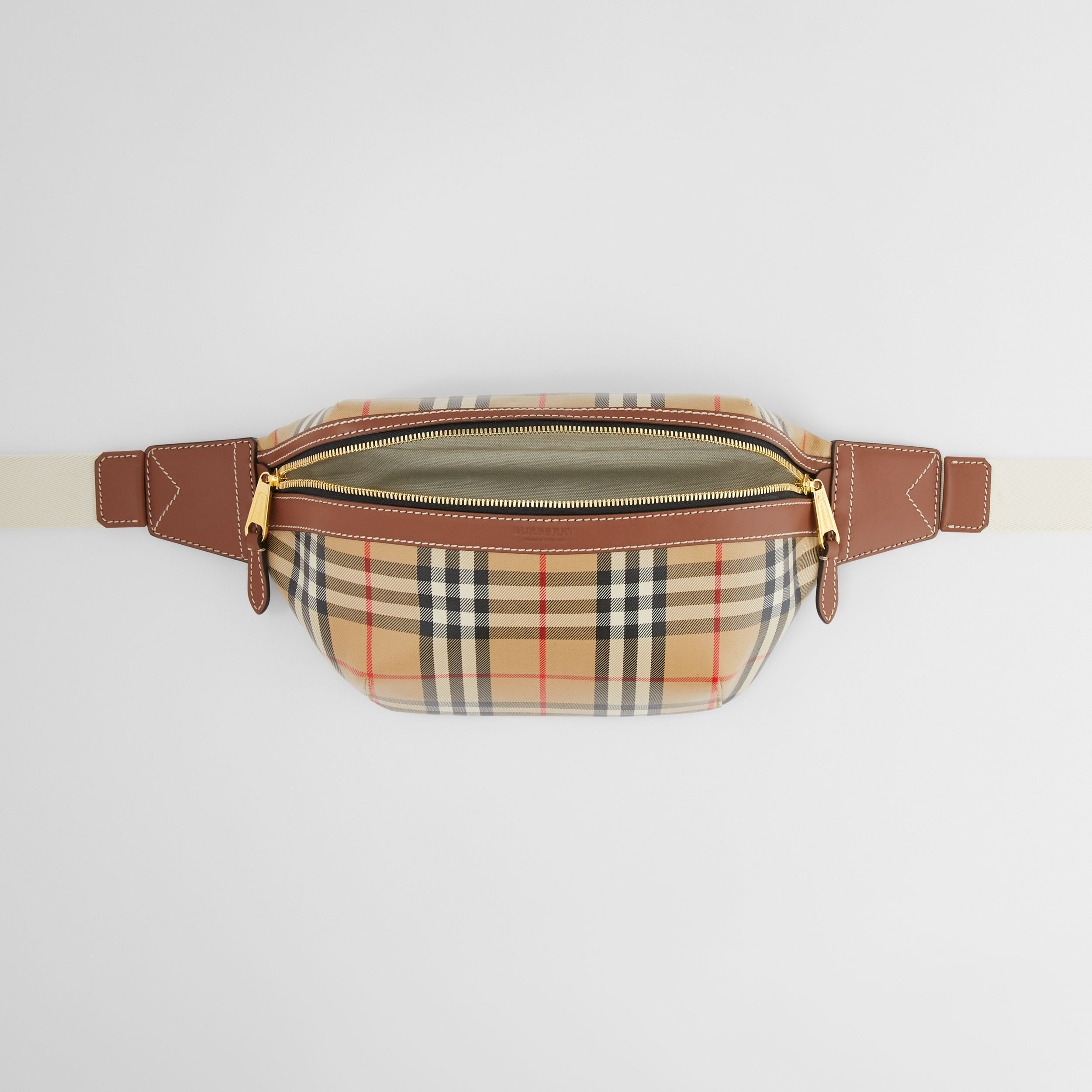 Vintage Check Coated Canvas Sonny Bum Bag in Archive Beige - Men | Burberry Hong Kong S.A.R. - 4