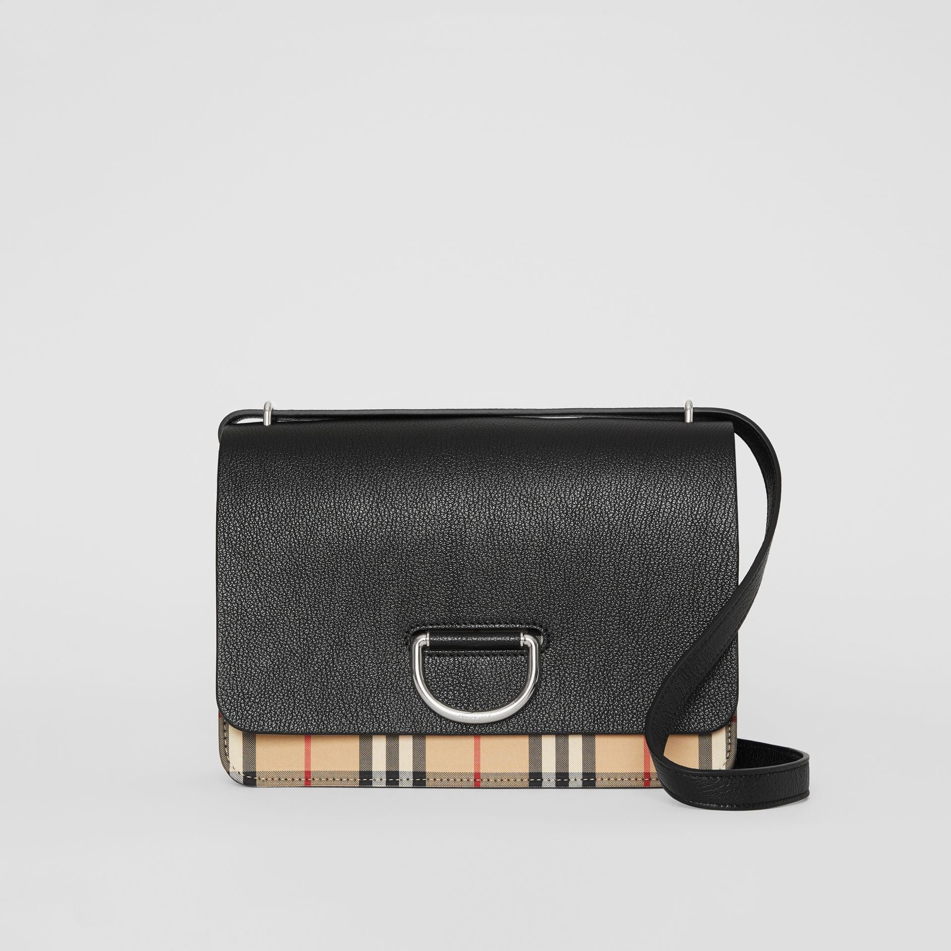 The Medium Vintage Check and Leather D-ring Bag in Black - Women | Burberry United States - gallery image 0